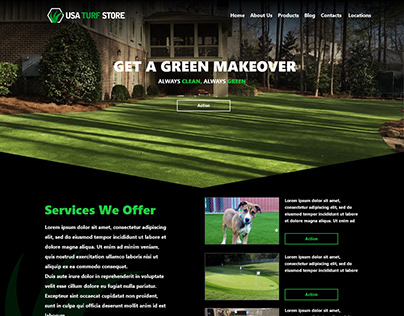 USA TURF STORE web page mock-up Adobe XD