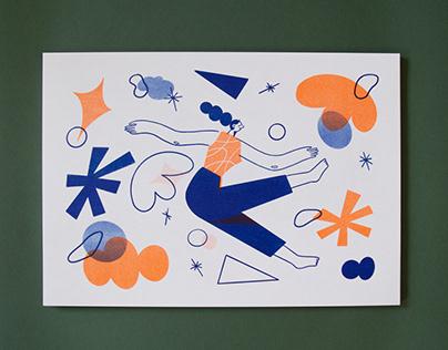 'Falling' Riso Prints