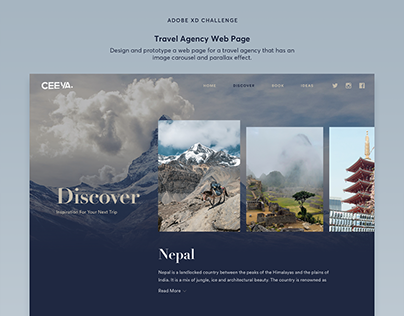 Adobe XD Creative Challenge - Travel Agency Web Page