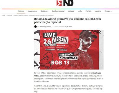 Batalha da Aldeia promove live