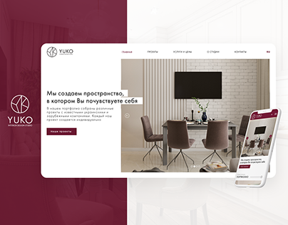 Minimalist UI Web Design for Yuko Interior Studio.