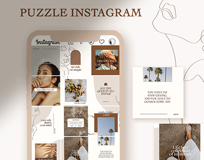 One Line Boho Instagram Puzzle Template