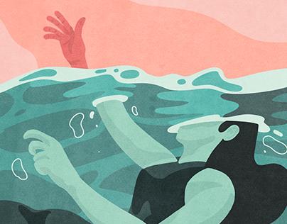 Editorial Illustration #5 - Woman Depression