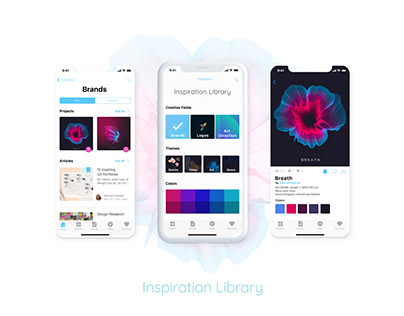 mobile app for designers «Inspiration library»
