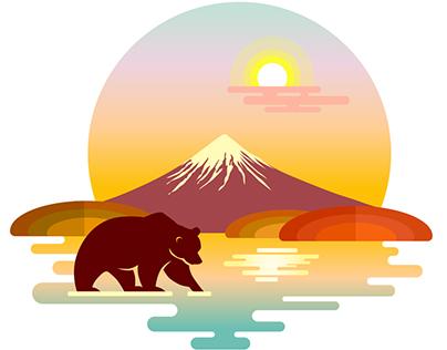 Landscape illustrations: Kamchatka
