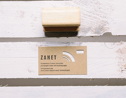 Die-cut business card with stamp