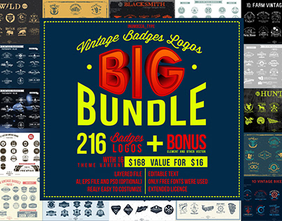 BIG BUNDLE Vintage Badges 90%