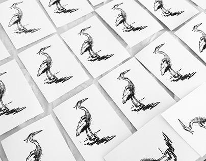 """""""Heron"""", linocut, 2017."""