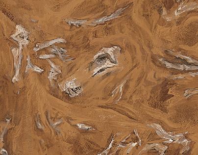 A escavação, mapa para jogo de tabuleiro.