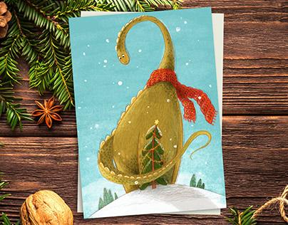 Christmas Diplodocus Card