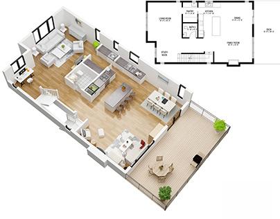 The 3D floor plan rendering