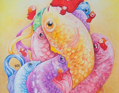 """Ponyo the little mermaid"" illustration/video"