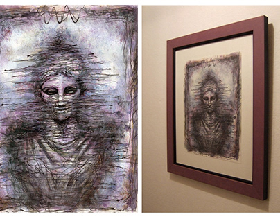 Medea - Pencil and dusts on paper (Framed)