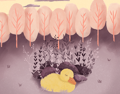 Sunset Duckling Art print for Etsy
