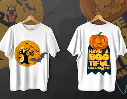 Pumpkin t shirt and Scary T-shirt design for Halloween