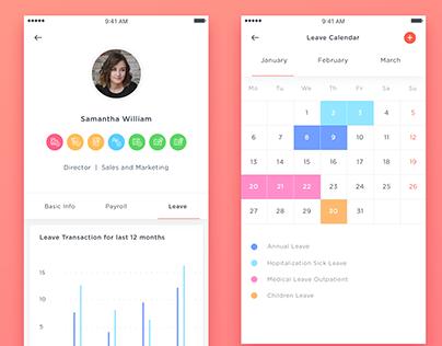 HR Mobile App -Staff Holiday Planner UI/UX Design