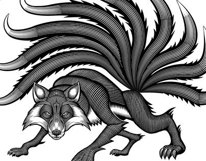 9-tailed fox illustration
