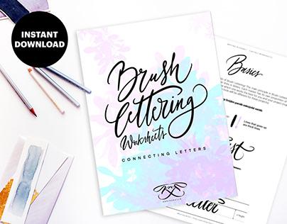 Brush lettering digital worksheets: connecting letters