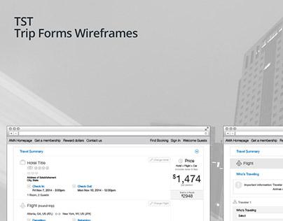 TST Trip Forms Wireframes
