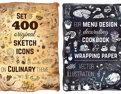 Hand-drawn sketch of food and kitchenware. Calligraphic