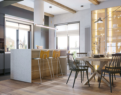 Inerior design of a country house skandi+loft style