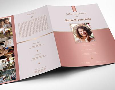 Rose Gold Funeral Program Word Publisher Large