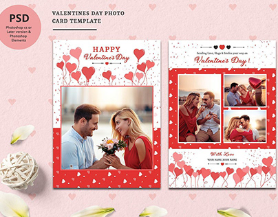 Valentine Day Photo Card Template
