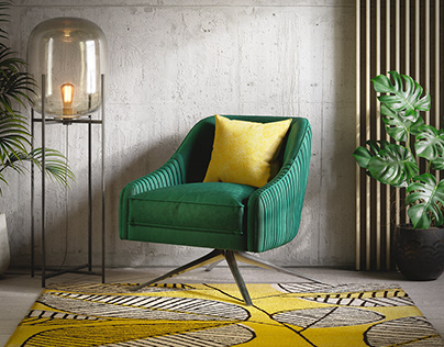 3D Photoreal Furniture Rendering - Green Armchair