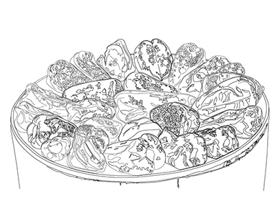 Roasting red peppers line drawing
