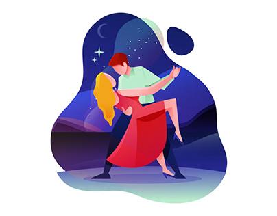 Dance At Night Illustration