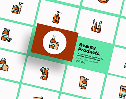 Beauty Products | 20 Thin Line Icons Set