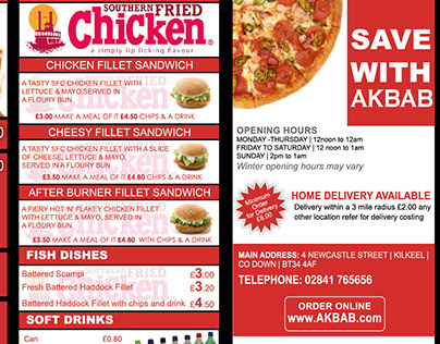 AKBAB Pizza Menu Brochure