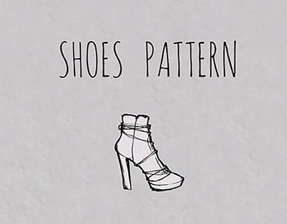 Shoes pattern. Hand drawn ink fashion illustration