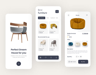 E-commerce Mobile funiture app UI✔✔