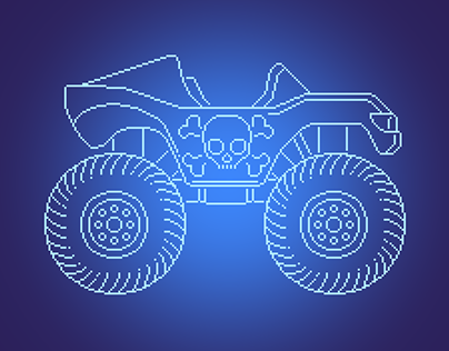 Blueprint style illustrations for 'Drive Ahead!'
