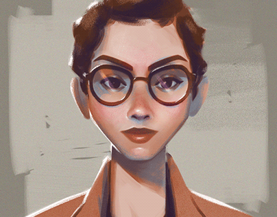 Short hair. Portrait
