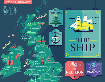 :::The most popular pub names in UK & Ireland:::