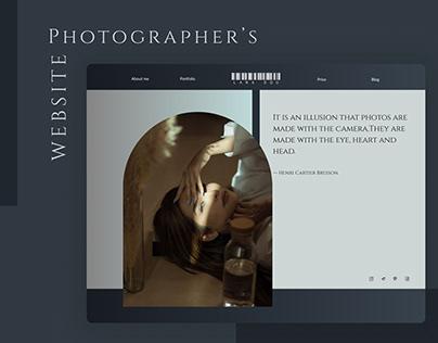 Photographer's Website homepage