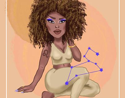 Leo zodiac girl illustration