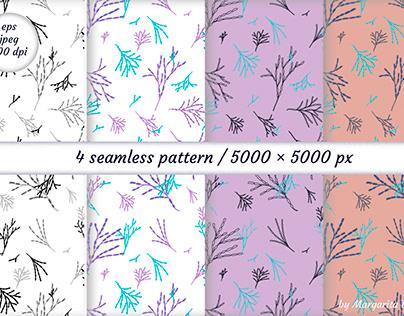 Botanical Digital paper. Seamless patterns