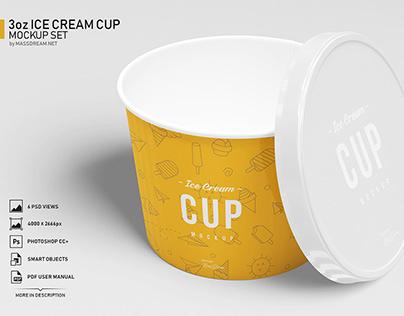Free 3oz Ice Cream Cup Mockup Set