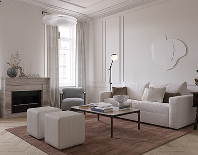 Renovated living room in an old Petersburg apartment