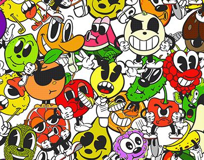 Retro Cartoon Fruits