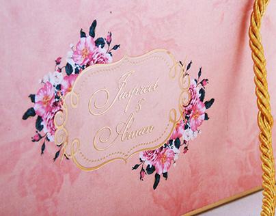 Peach Floral Basket Invite