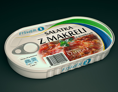 Mackerel salad Can - Object visualization render