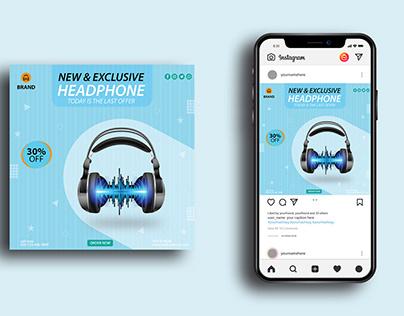 Headphone Social Media Post Templates I Ad banners