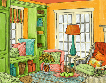 tangerine walls // digital interior illustration