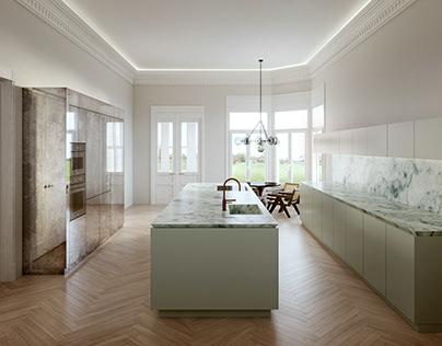 Interior visualization of a kitchen in Hamburg