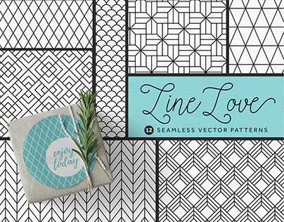 Line Love Seamless Vector Patterns