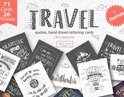 Travel hand drawn lettering, cards.